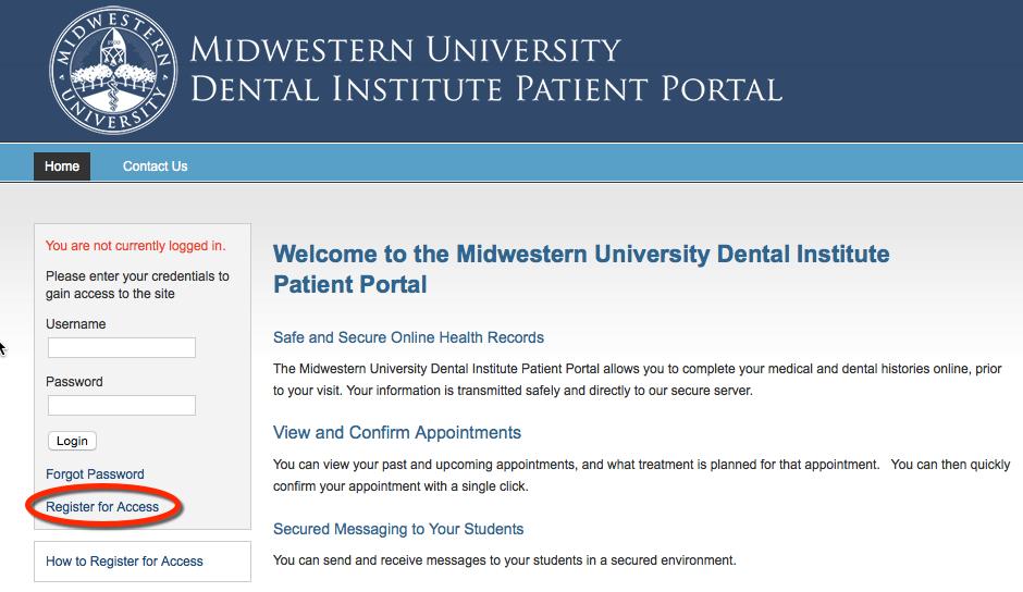 Midwestern University Dental Institute Patient Portal - Home
